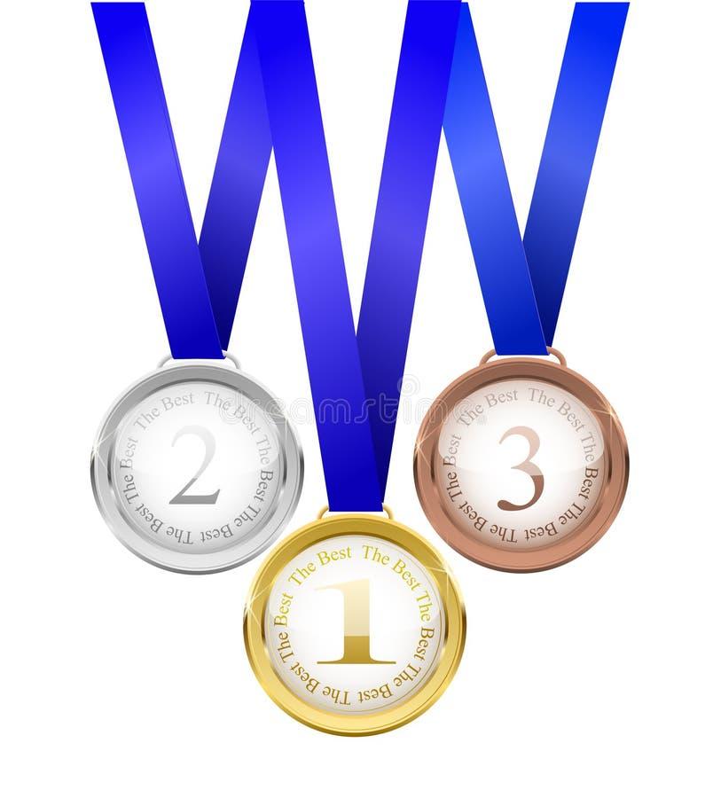 medaljer tre Guld försilvra och brons vektorillustrationen Realistisk härlig vektorillustration stock illustrationer