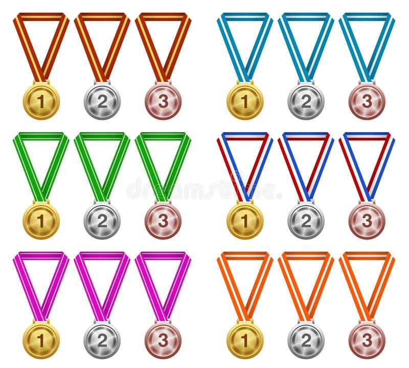 Medaljer utmärkelse, framgång, mästare stock illustrationer