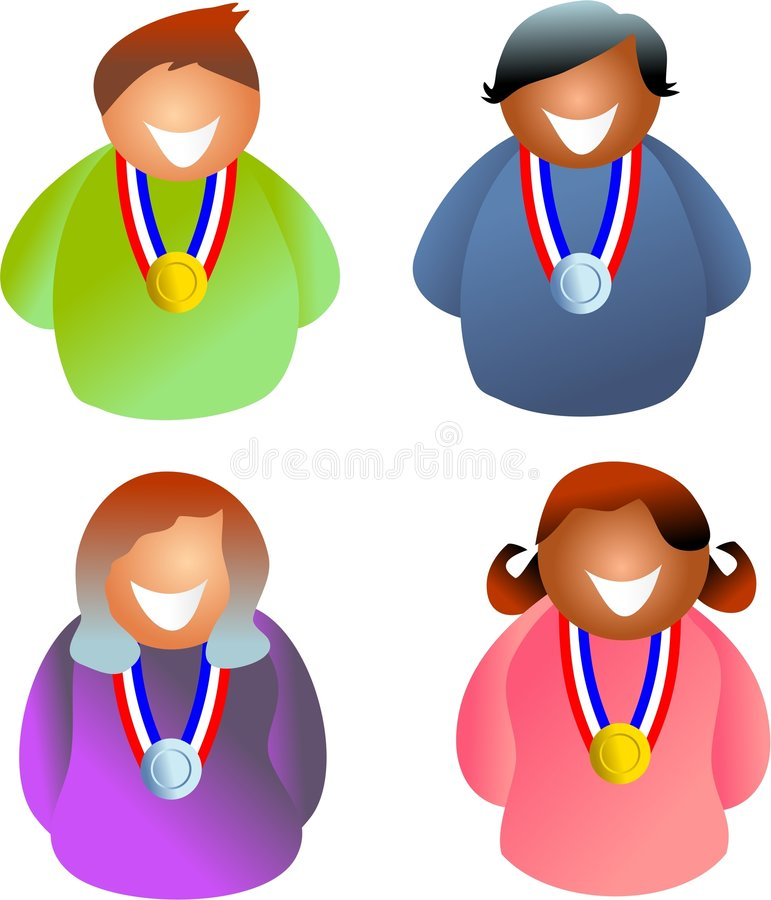 medaljfolk stock illustrationer