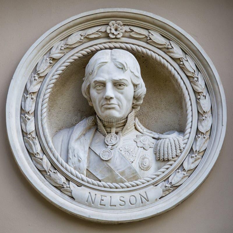 Medaljongbyst av Horatio Nelson i Greenwich royaltyfri fotografi