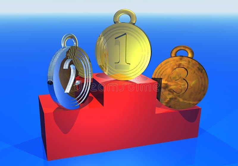 medaljpodium tre vektor illustrationer