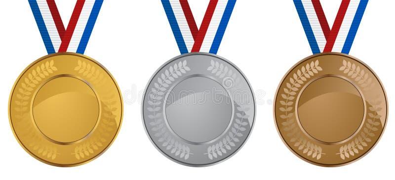 medaljset royaltyfri illustrationer