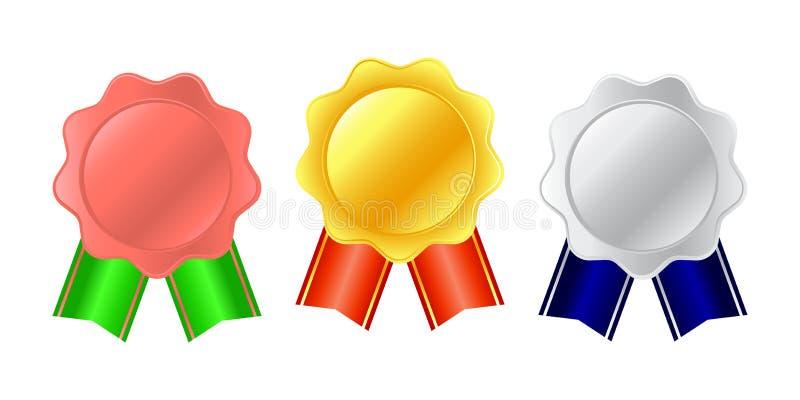 Medaljsymbol Elegant guld- silverbrons märker samlingsuppsättningen Rosette av guld-, röd och silversatängtyg med en bandsvan som stock illustrationer