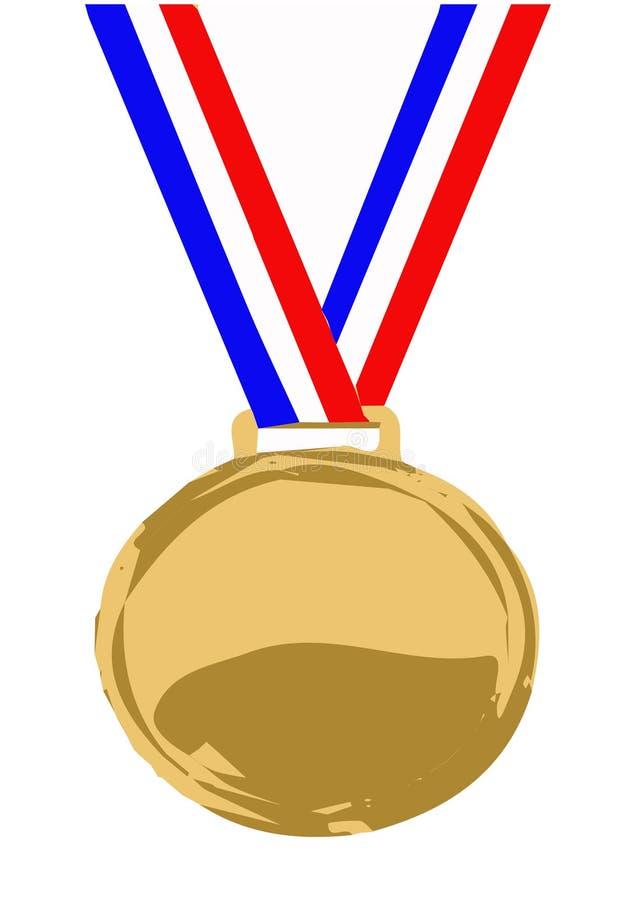 Medaljsymbol p? vit bakgrund royaltyfri illustrationer