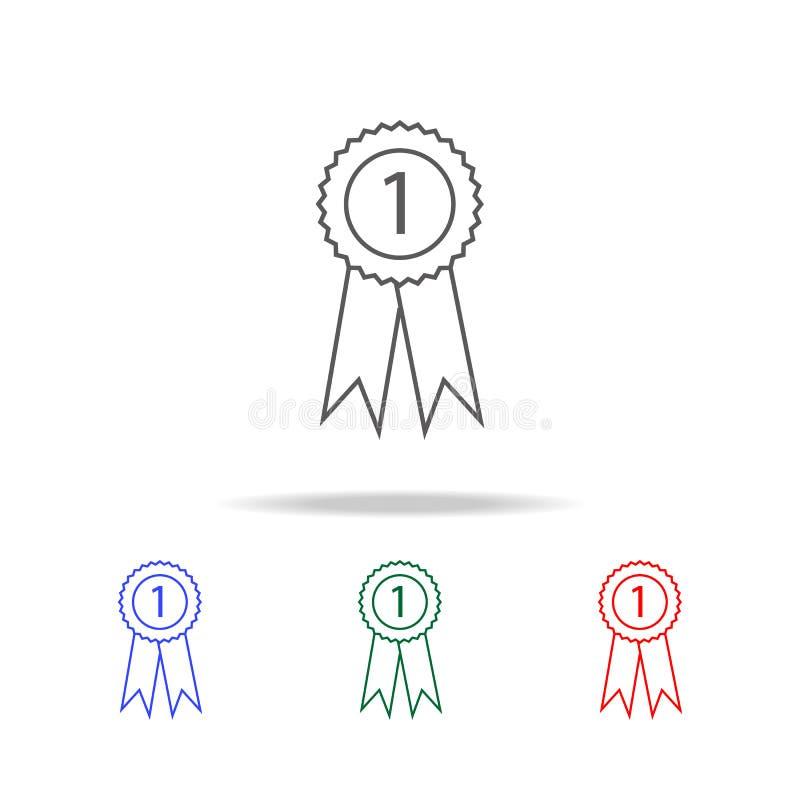 Medaljsymbol Vektoravläggande av examensymbol Beståndsdelar av mång- kulöra symboler för utbildning Högvärdig kvalitets- symbol f stock illustrationer