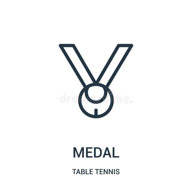 medaljsymbolsvektor från bordtennissamling Tunn linje illustration för vektor för medaljöversiktssymbol Linjärt symbol för bruk p vektor illustrationer
