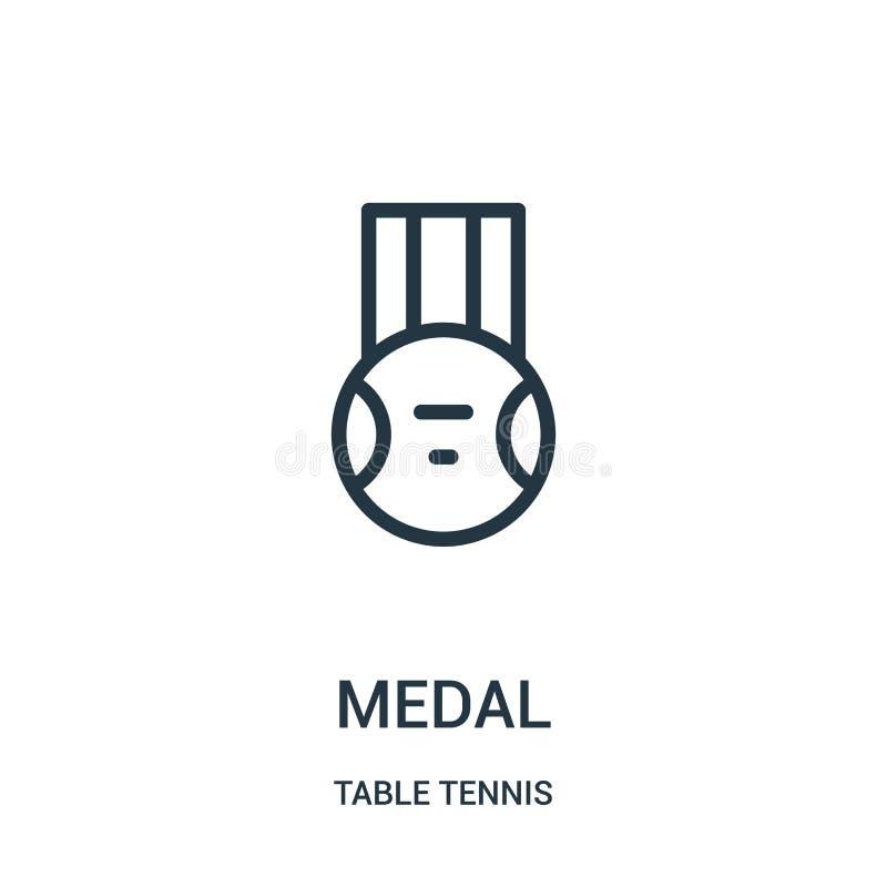 medaljsymbolsvektor från bordtennissamling Tunn linje illustration för vektor för medaljöversiktssymbol Linjärt symbol för bruk p stock illustrationer