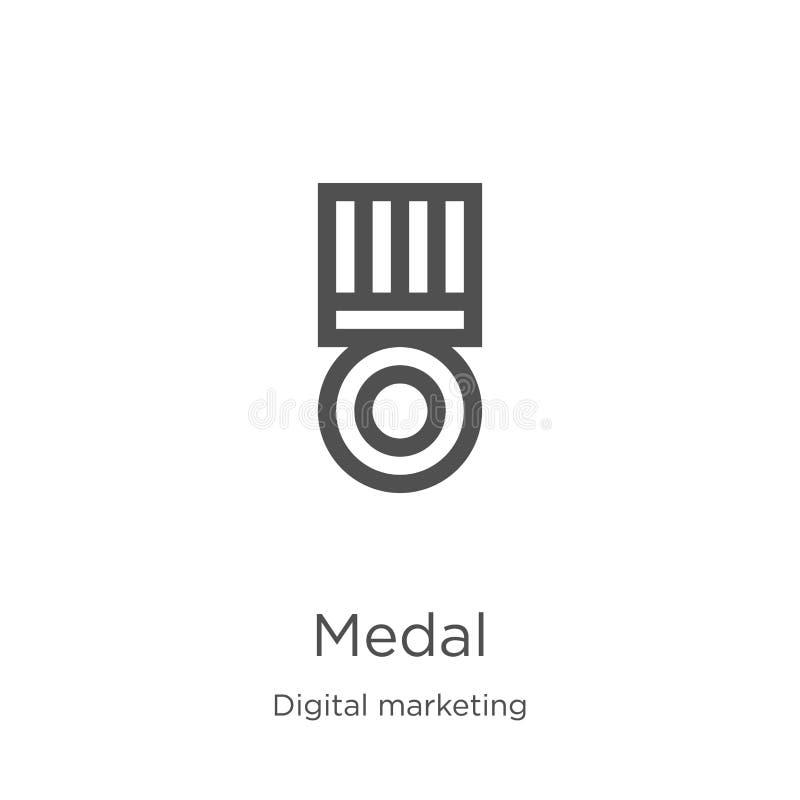 medaljsymbolsvektor från digital marknadsföra samling Tunn linje illustration f?r vektor f?r medalj?versiktssymbol Översikt tunn  stock illustrationer