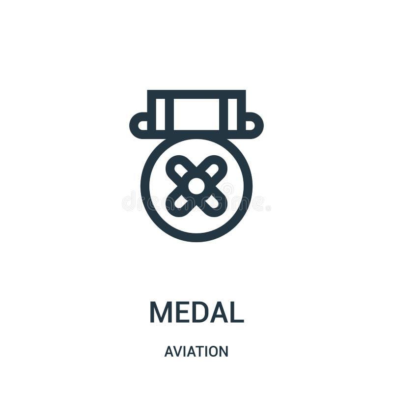 medaljsymbolsvektor från flygsamling Tunn linje illustration för vektor för medaljöversiktssymbol Linjärt symbol för bruk på reng vektor illustrationer