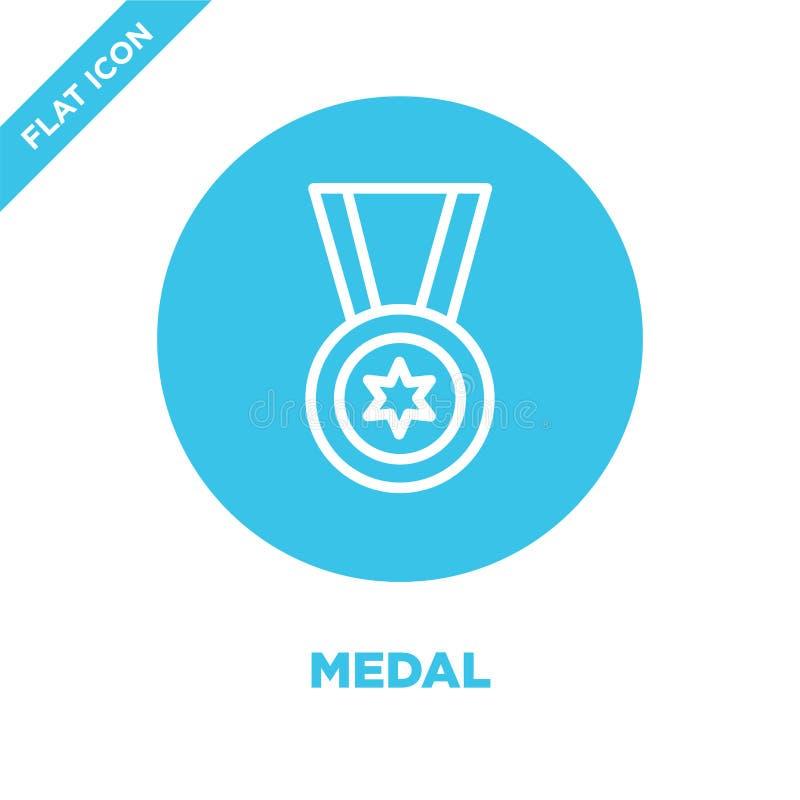 medaljsymbolsvektor från militär samling Tunn linje illustration för vektor för medaljöversiktssymbol Linjärt symbol för bruk på  royaltyfri illustrationer