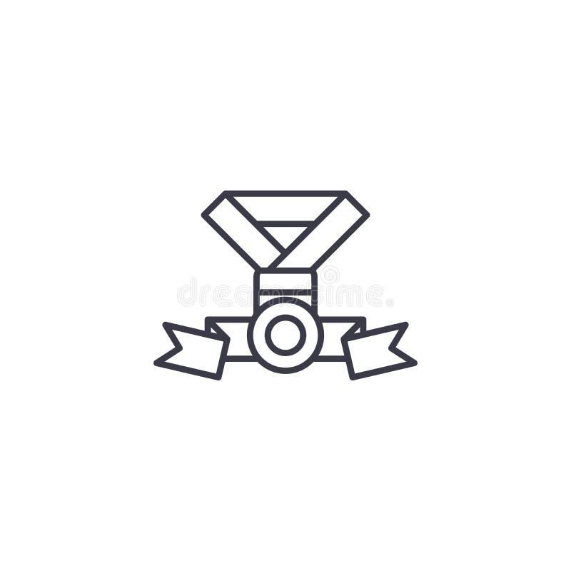 Medaljutmärkelse med linjärt symbolsbegrepp för band Medaljutmärkelse med bandlinjen vektortecken, symbol, illustration royaltyfri illustrationer