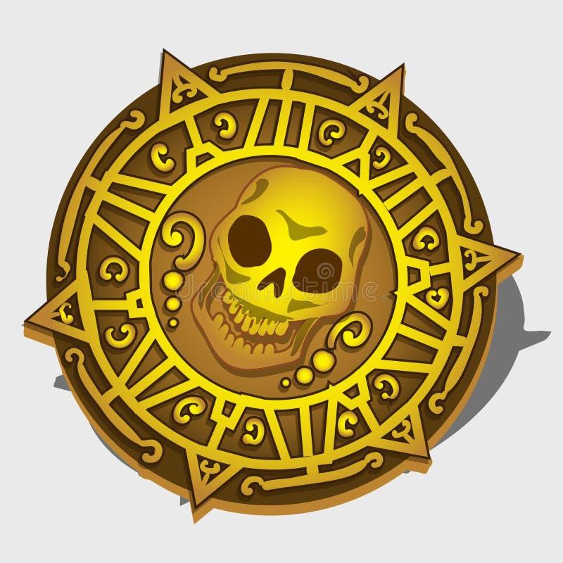 Medallón de oro del pirata con el símbolo del cráneo stock de ilustración