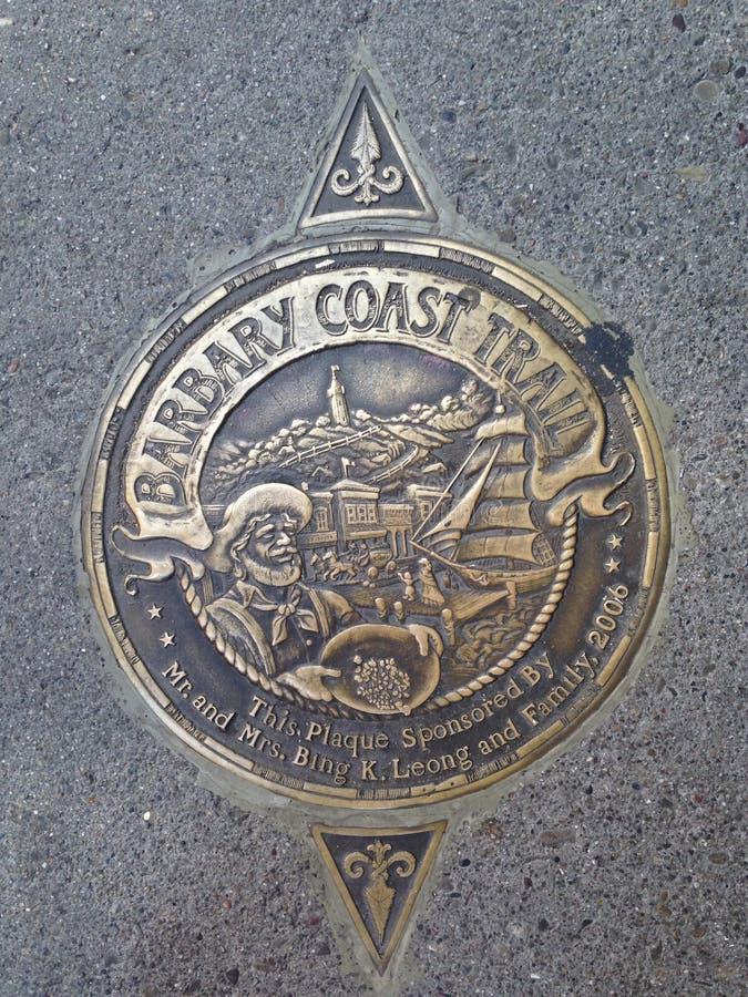 Medallón del rastro de la costa del ` s Barbary de San Francisco, 3 imagen de archivo libre de regalías