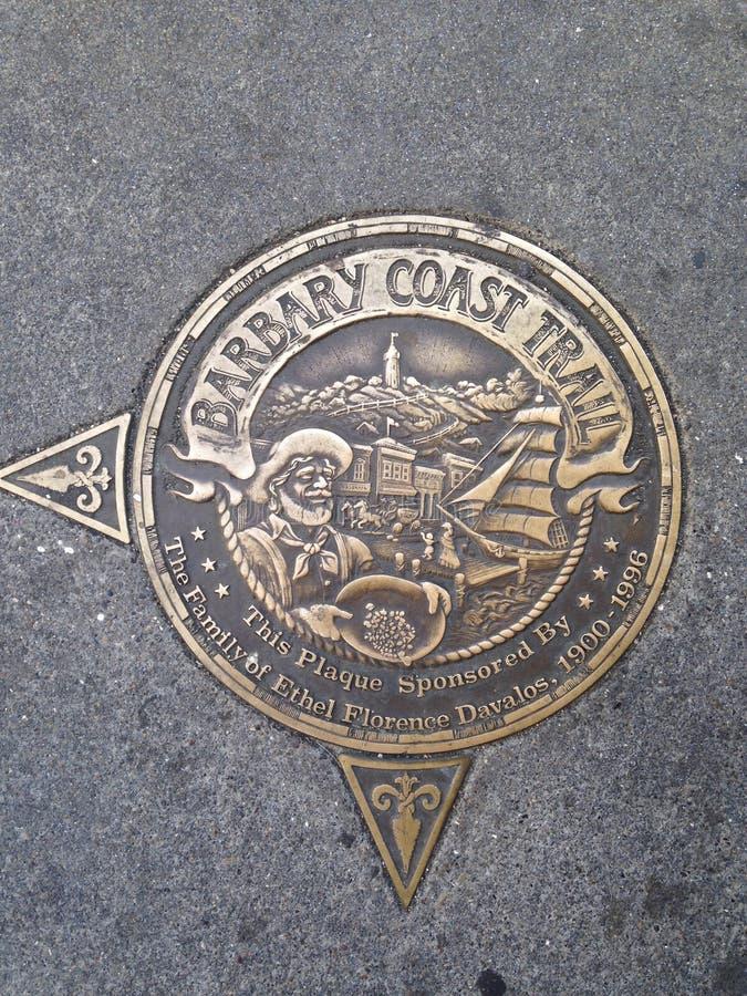 Medallón del rastro de la costa del ` s Barbary de San Francisco, 4 foto de archivo libre de regalías