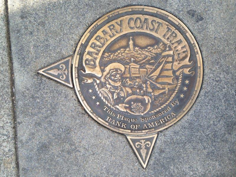 Medallón del rastro de la costa del ` s Barbary de San Francisco, 5 imagen de archivo libre de regalías