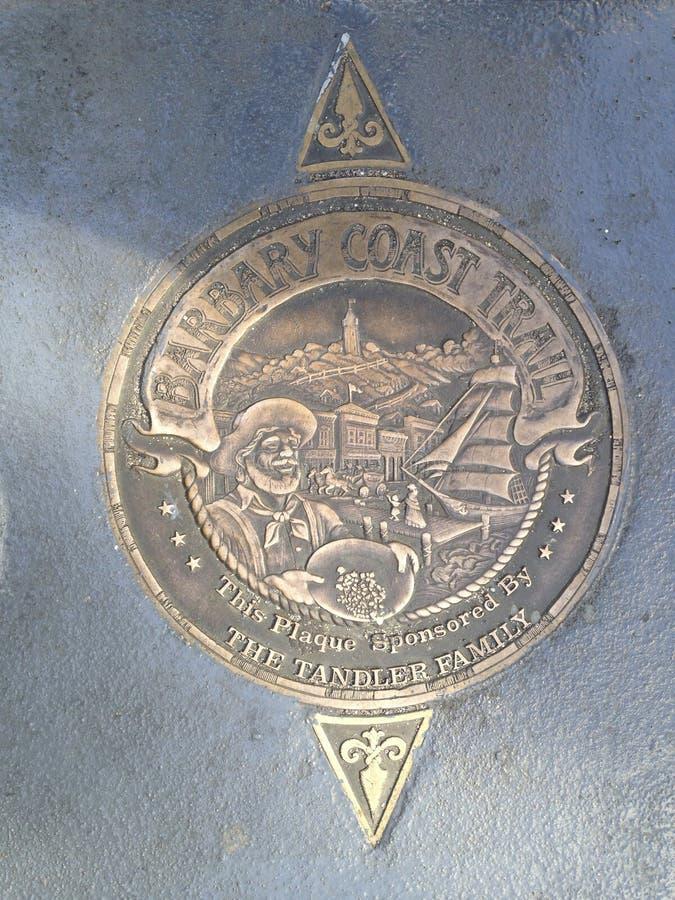 Medallón del rastro de la costa del ` s Barbary de San Francisco, 1 foto de archivo libre de regalías