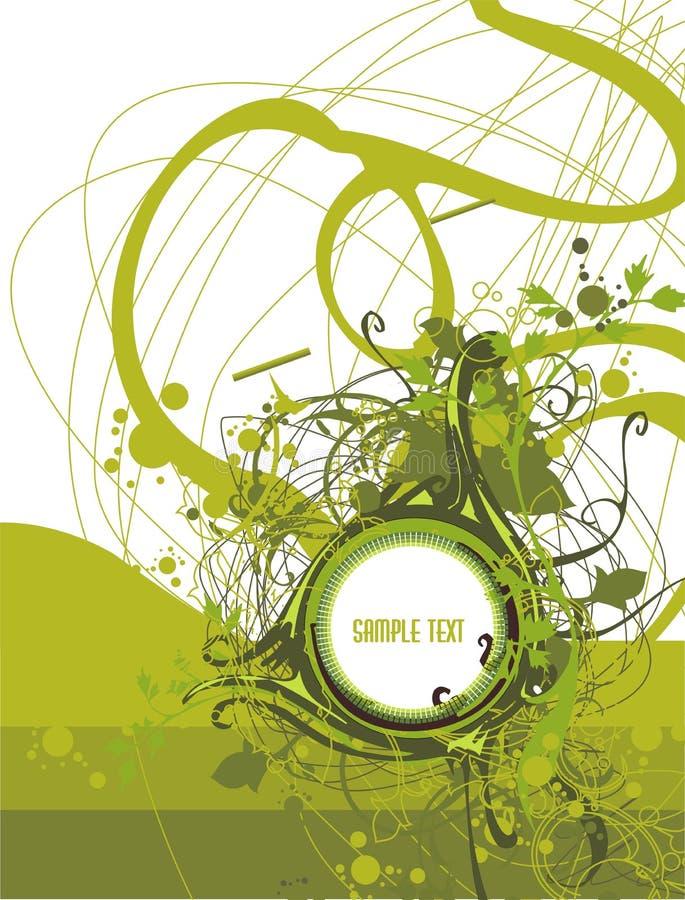 Medallón en blanco en grunge abstracto y fondo floral libre illustration