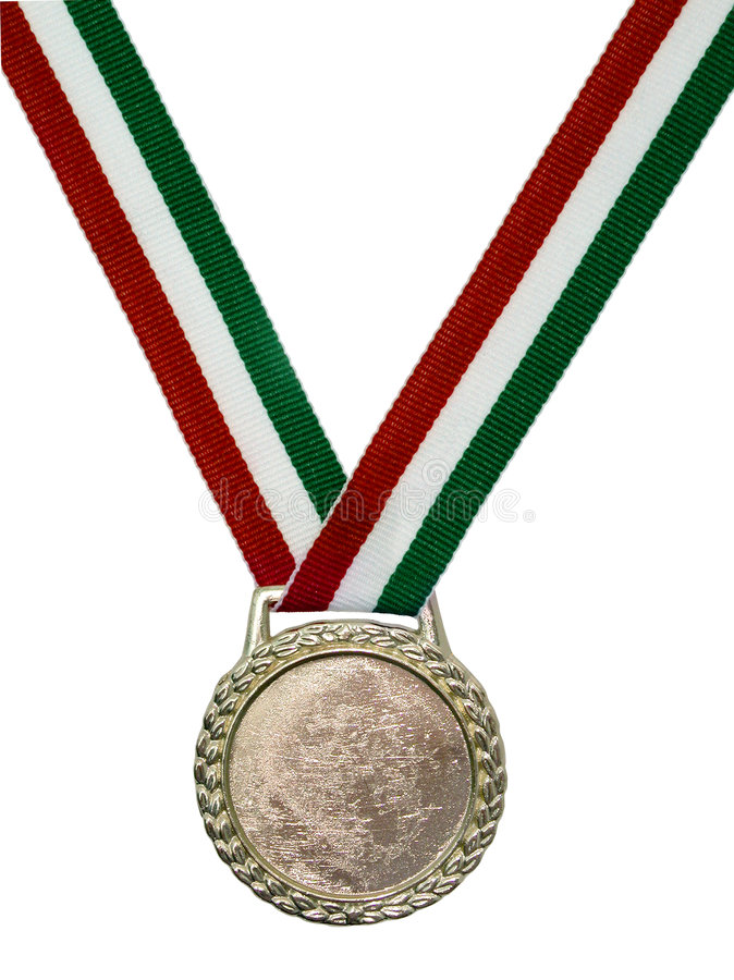 Medallón verde y rojo de la cinta fotografía de archivo libre de regalías
