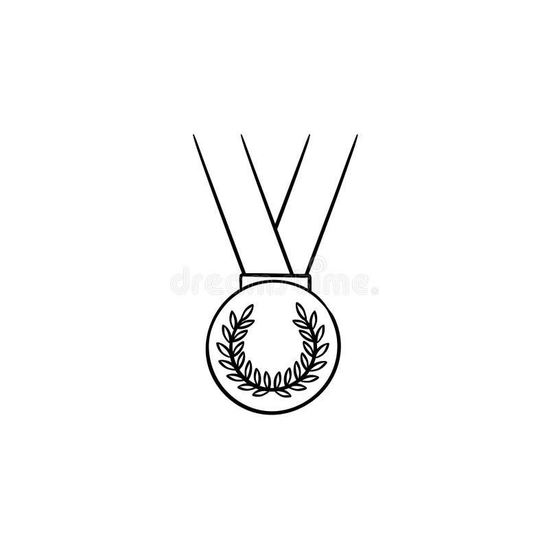 Medalla con el icono dibujado mano del garabato del esquema de la cinta libre illustration