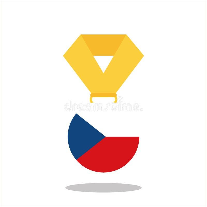 Medalla con la bandera de la República Checa aislada en el fondo blanco - vector el ejemplo ilustración del vector