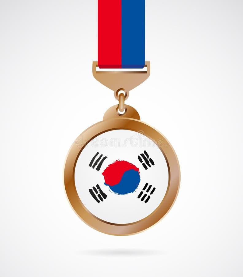 Medalla de bronce con la bandera coreana libre illustration