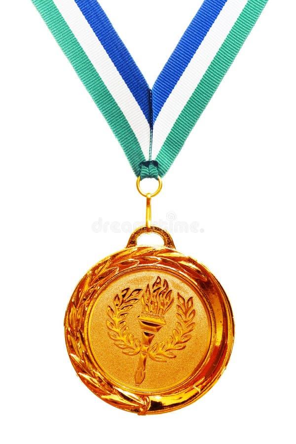 Medalla de oro con la cinta imagen de archivo libre de regalías
