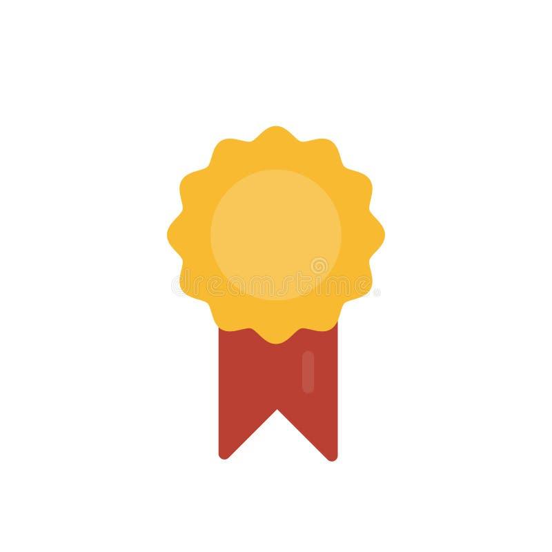 Medalla de oro del ganador con la cinta roja para el estilo plano del símbolo del logro aislada en el fondo blanco stock de ilustración