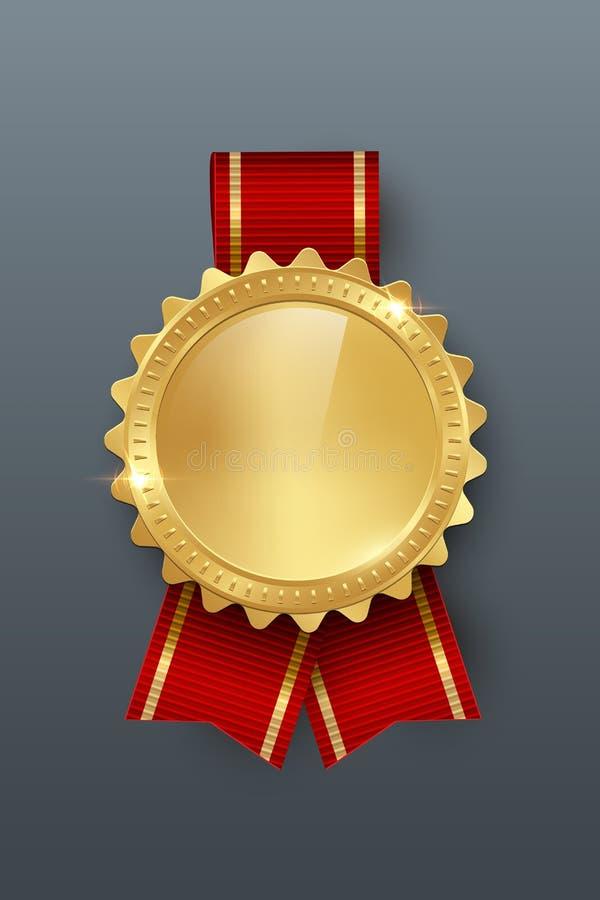 Medalla de oro del premio con el ejemplo de color realista del vector de la cinta 3d en fondo gris ilustración del vector