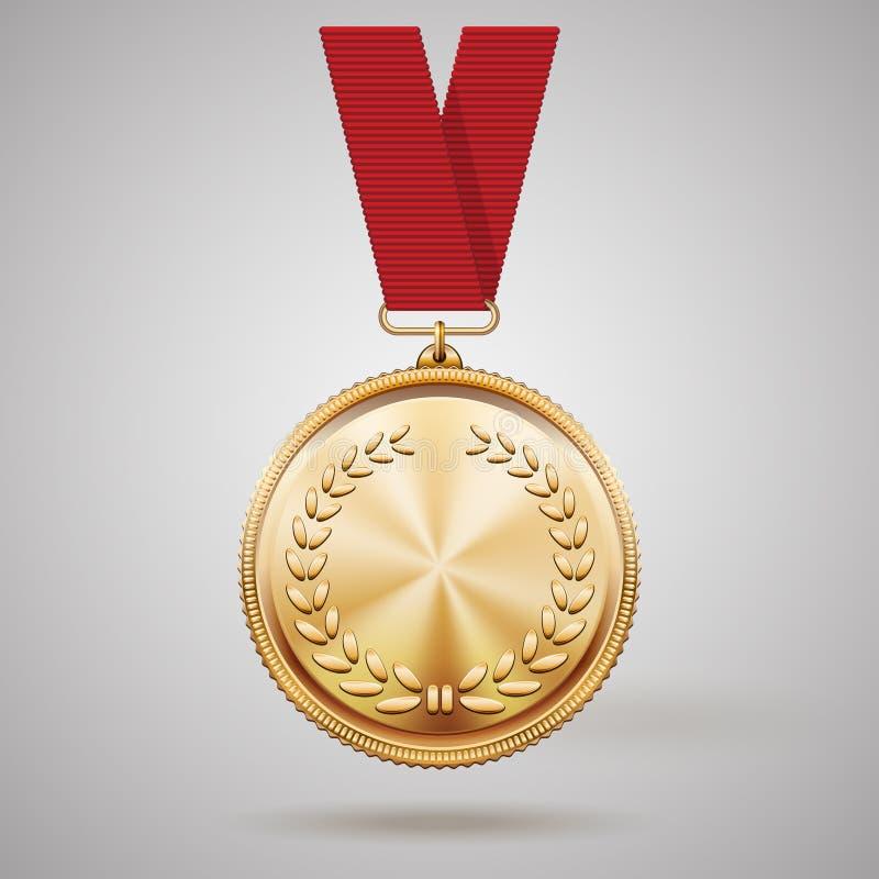 Medalla de oro del vector en cinta roja stock de ilustración