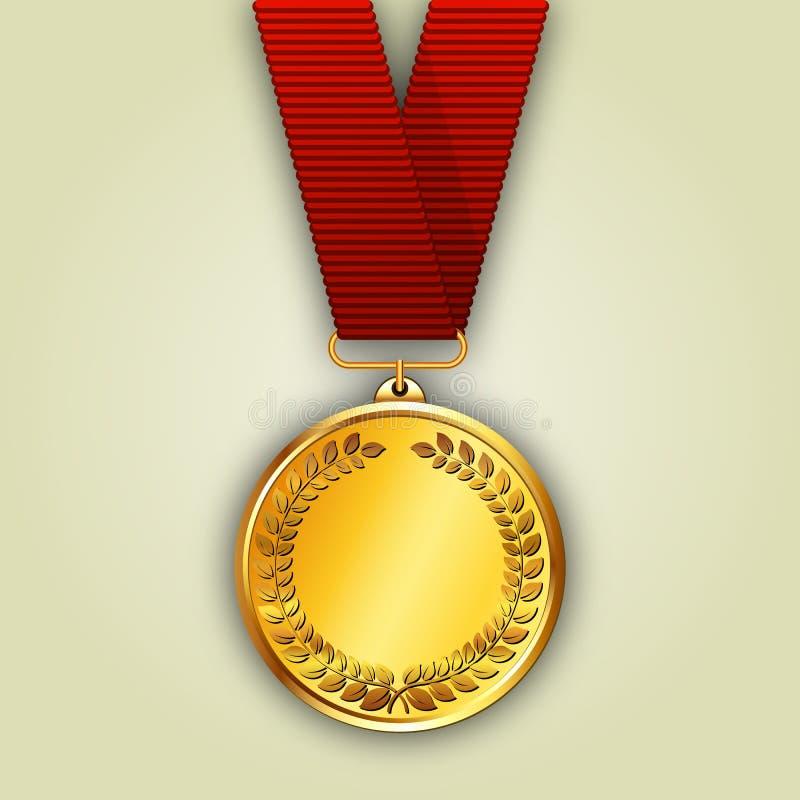 Medalla de oro del vector en cinta roja libre illustration