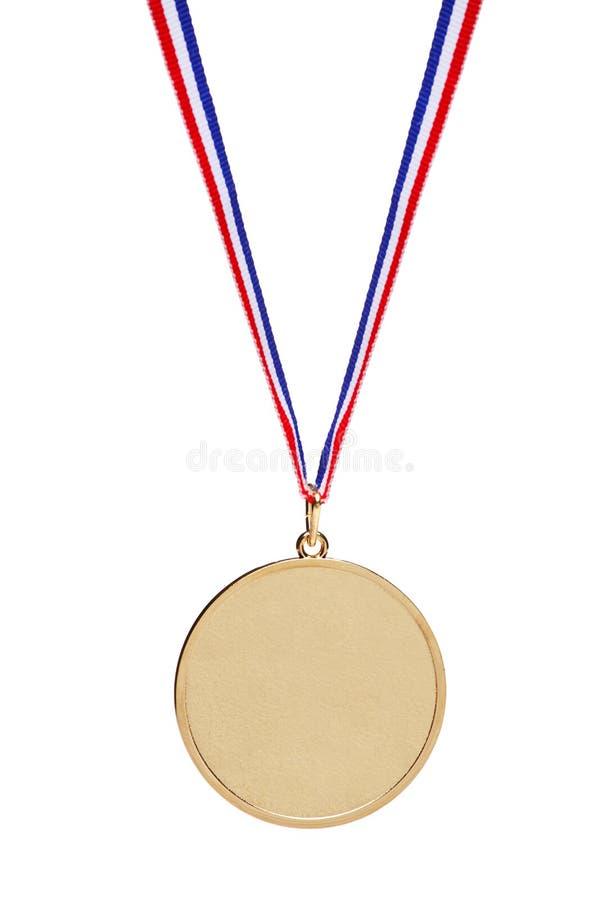 Medalla de oro en blanco con la cinta tricolora fotografía de archivo