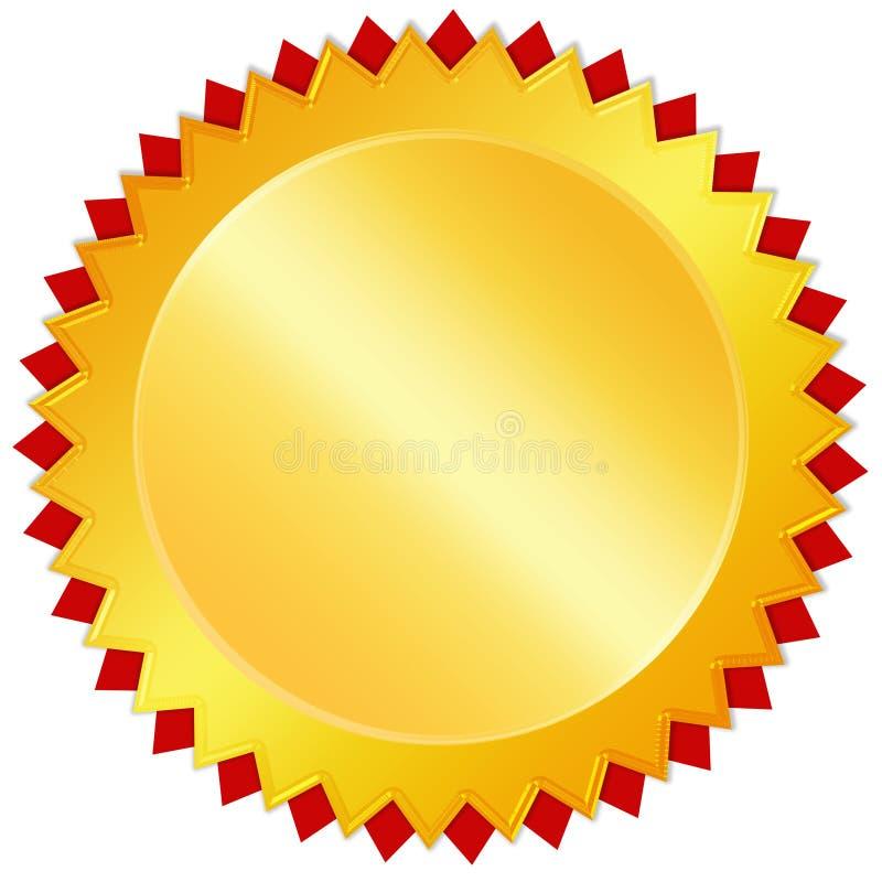 Medalla de oro en blanco de la concesión ilustración del vector