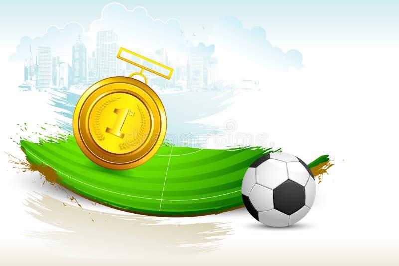 Medalla de oro en echada del fútbol ilustración del vector