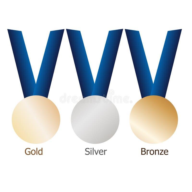 Medalla de oro, medallista de plata, medalla de bronce en cintas azules con las superficies metálicas brillantes fotografía de archivo libre de regalías