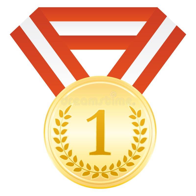 Medalla de oro para el ganador 1r lugar Icono de la ceremonia de entrega de los premios ilustración del vector
