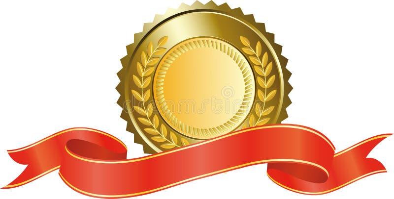 Medalla de oro y cinta roja stock de ilustración