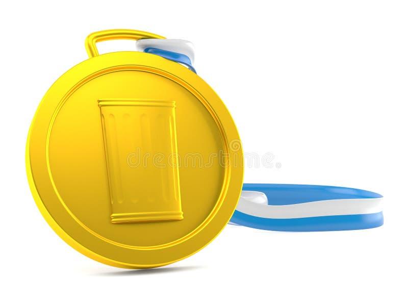 Medalla del bote de basura stock de ilustración