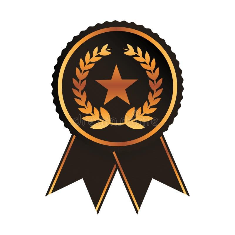 Medalla del negro del oro de la cinta del premio con el rosetón de la guirnalda del laurel de la estrella stock de ilustración