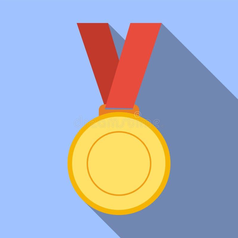 Medalla, logro, premio, bandera, espacio en blanco, brillante, de bronce, busine ilustración del vector
