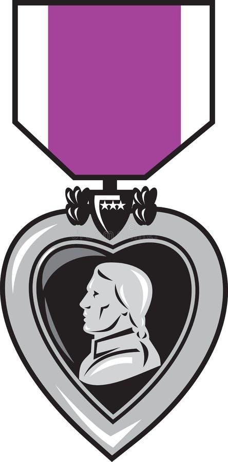 Medalla púrpura del calor del valor stock de ilustración