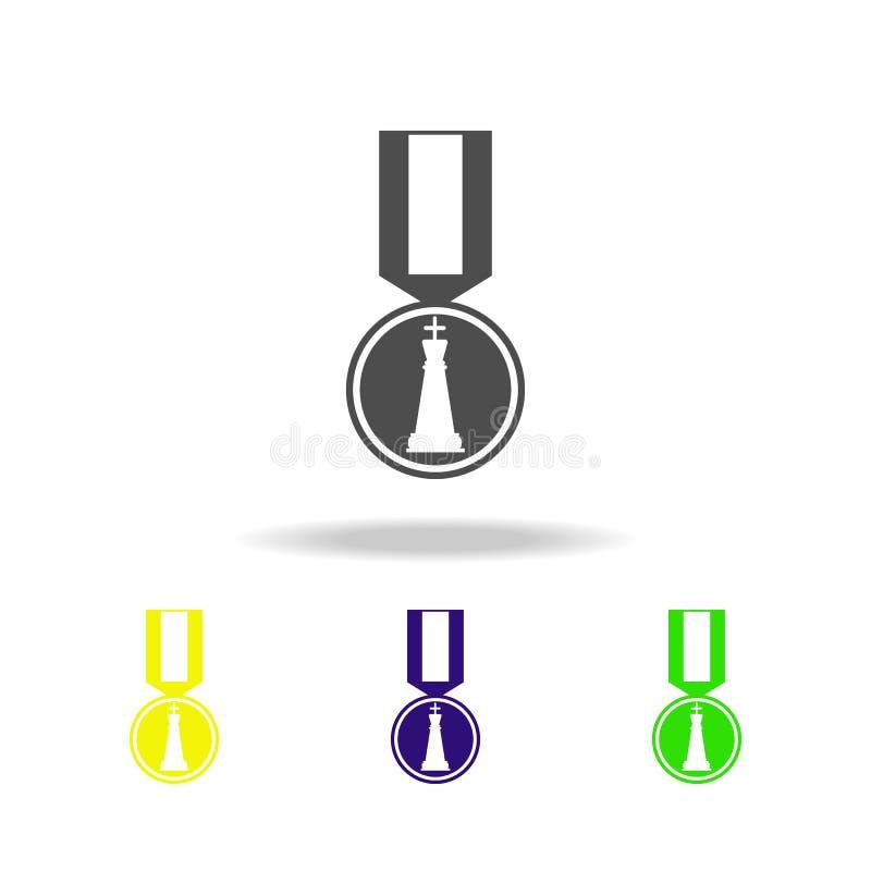 medalla para el icono del color del ajedrez Elemento del ajedrez para el ejemplo móvil de los apps del concepto y del web Línea f libre illustration