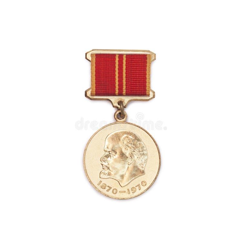 Medalla soviética para el aniversario valeroso del trabajo 100 de Lenin imagen de archivo