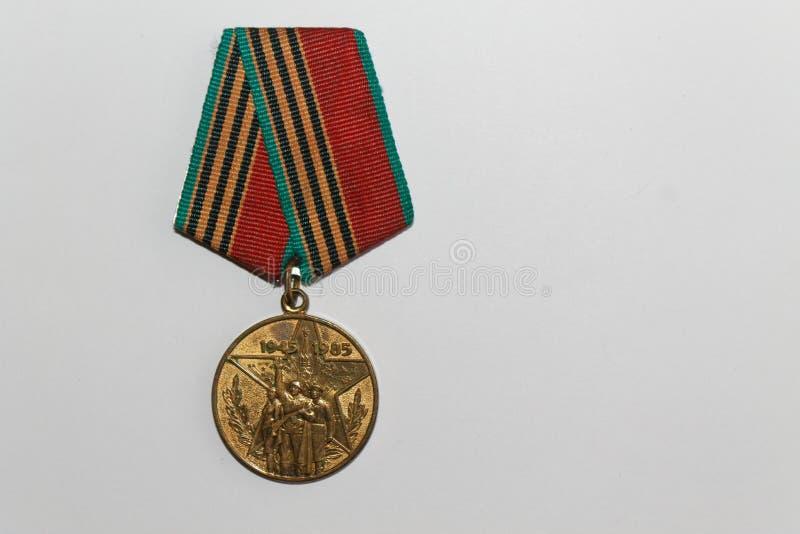 Medalla soviética por 40 años de la Guerra Mundial de la victoria Segunda imagenes de archivo