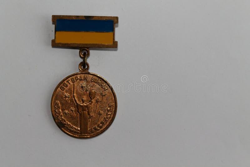 Medalla ucraniana el participante en operaciones militares - celebración de la Guerra Mundial de la victoria Segunda imágenes de archivo libres de regalías