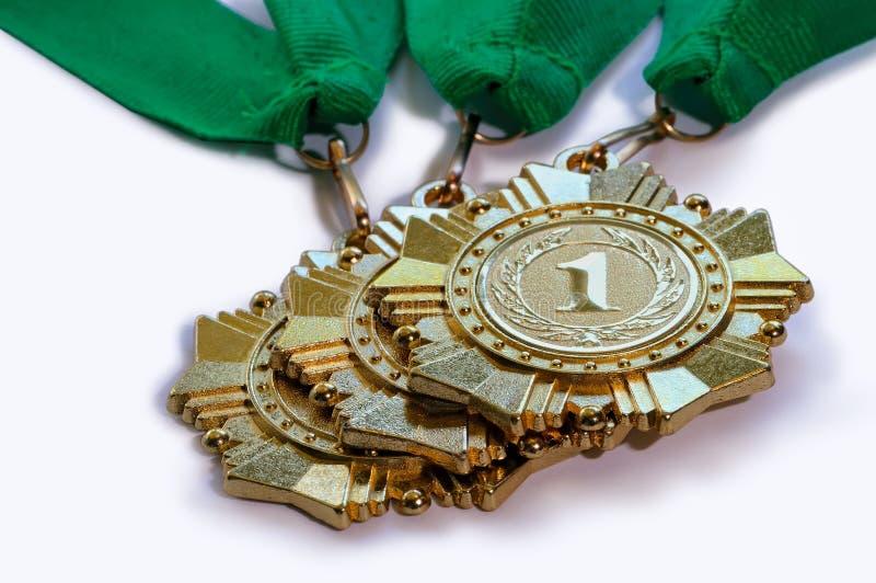 Medallas del metal del color oro para los ganadores foto de archivo libre de regalías