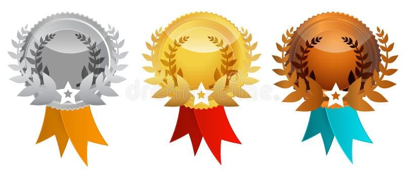Medallas fijadas - el vector concede iconos libre illustration
