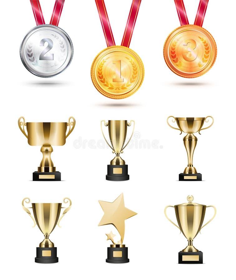 Medallas para la competencia, las tazas de oro y los premios fijados stock de ilustración