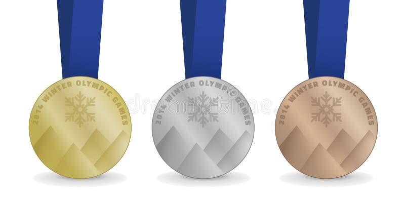 Medallas para los juegos de olimpiada de invierno 2014 stock de ilustración