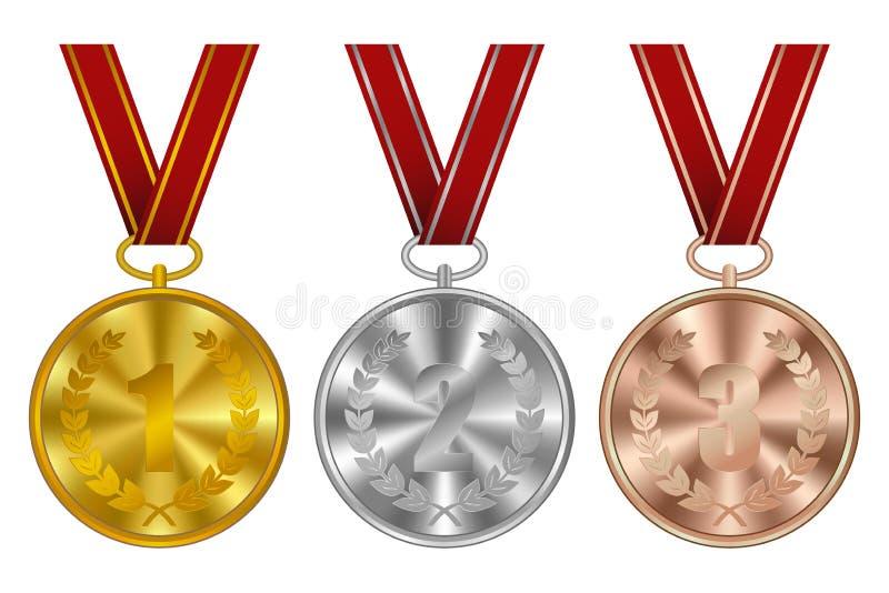 Medallas, premios del ganador Medalla de oro, de plata y de bronce de los deportes con la cinta roja Vector ilustración del vector