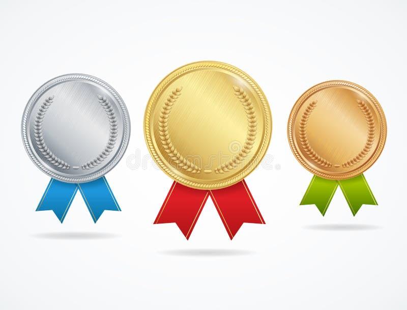 Medallas realistas del premio del metal fijadas Vector stock de ilustración